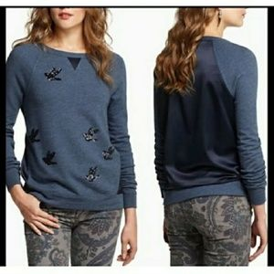 ANTHROPOLOGIE leifnotes sequined bird sweater